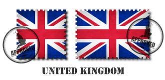 Vereinigtes Königreich der Großbritannien-Flaggenmuster-Briefmarke mit alter Kratzerbeschaffenheit des Schmutzes und der Dichtung Vektor Abbildung