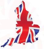 Vereinigtes Königreich innerhalb der Flagge und der Karte Lizenzfreies Stockfoto