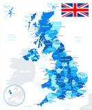 Vereinigtes Königreich - Karte und Flagge - Illustration Stockfotos