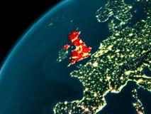 Vereinigtes Königreich nachts auf Erde Lizenzfreies Stockfoto