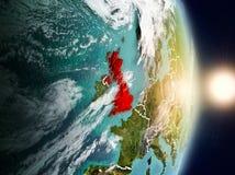 Vereinigtes Königreich während des Sonnenaufgangs Lizenzfreie Stockbilder