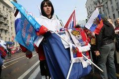 Vereinigtes Russland nehmen an einer Sammlung teil, um Maifeiertag zu markieren Stockfotografie