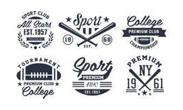 Vereinlogo-Entwurfssatz des Sports erstklassiger, erstklassige Meisterschaft der Weinlese, Turnieremblem oder Ausweisvektor Illus lizenzfreie abbildung