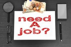 Vereis een baan en een geld Stock Foto