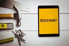 Vereis een hand? tegen blauwdruk Stock Fotografie