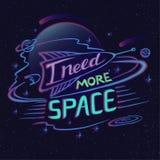 Vereis meer het ruimte van letters voorzien Ruimteembleem, embleem stock illustratie