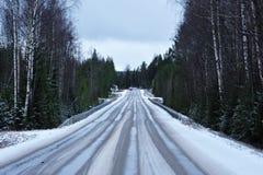 Vereiste Straße durch einen Wald Stockfotos