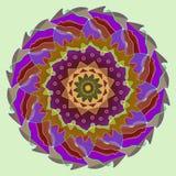 Veren, blauw, mandalabloem, in vliegtuigaquamarijn backgroundd, centrale bloem in grijs beige, bruin, blauw, purper, groen, stock illustratie