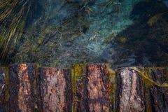 Verengen Sie und ruinierte kleine Holzbrücke in schwarzer Flussschlucht Lizenzfreie Stockfotos