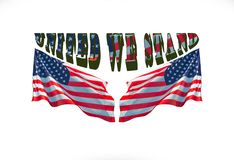 Verenigd bevinden wij ons met twee vlaggen van de V.S. stock afbeelding