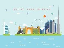 Verenigde Arabische de Oriëntatiepuntenreis van Emiraten en Reisvector Stock Afbeeldingen