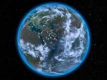 Verenigde Arabische Emiraten bij nacht ter wereld Stock Foto's