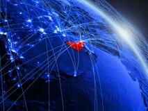 Verenigde Arabische Emiraten op blauwe blauwe digitale bol royalty-vrije illustratie