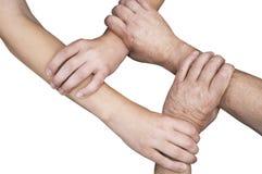 Verenigde handen die met het knippen van weg worden geïsoleerde Stock Foto's