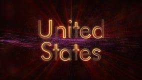 Verenigde Staten - de Glanzende het van een lus voorzien animatie van de de naamtekst van het land stock afbeelding