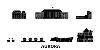 Verenigde Staten, de horizonreeks van de Dageraad vlakke reis Verenigde Staten, vectorillustratie van de Dageraad de zwarte stad, royalty-vrije illustratie