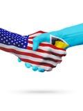 Verenigde Staten, de samenwerking van het de vlaggenconcept van Heilige Lucia, zaken, de sportenconcurrentie stock illustratie