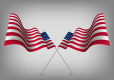 Verenigde Staten die in de schaduw gestelde Amerikaanse vlag golven Nationaal de patriotsymbool van de V.S. Stock Foto