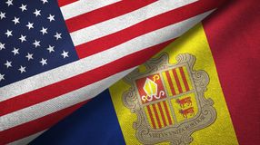 Verenigde Staten en Andorra twee vlaggen textieldoek, stoffentextuur stock illustratie