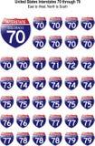Verenigde Staten Interstates 70 door 79 vector illustratie