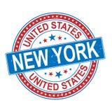 Verenigde Staten New York om rode grungy rubberdiezegel op wit wordt geïsoleerd vector illustratie