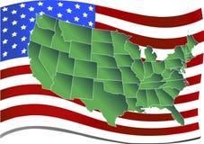 Verenigde Staten over Amerikaanse vlag Stock Afbeelding