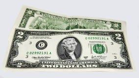 Verenigde Staten twee dollarsrekeningen Royalty-vrije Stock Foto's