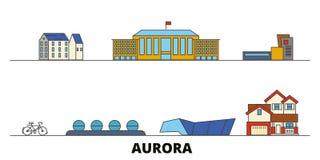 Verenigde Staten, vectorillustratie van Dageraad de vlakke oriëntatiepunten Verenigde Staten, de stad van de Dageraadlijn met ber royalty-vrije illustratie