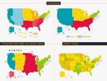 Verenigde Staten Zonetijdstreken van Verenigde Staten Het gebied van de V.S. Royalty-vrije Stock Foto