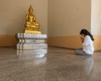 Verering aan het standbeeld van Boedha stock afbeelding