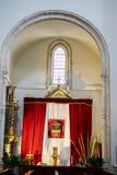 Verering, Heilige Week in Spanje, beelden van virgins en representatio Stock Afbeeldingen