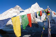 Verest with buddhist prayer flags Stock Image