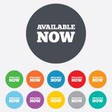 Verfügbare jetzt Ikone. Einkaufsknopf. Stockfotos
