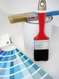 Verf, borstel, kleurensteekproeven Stock Afbeeldingen