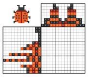 Verf door aantalraadsel nonogram, Lieveheersbeestje vector illustratie