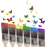 Verf en vlinders Royalty-vrije Stock Afbeeldingen