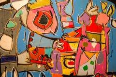 Verf op Canvas: Abstracte Kunst met Gele, Blauwe en Witte Tinten - Achtergrond royalty-vrije stock fotografie