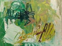 Verf op Canvas: Abstracte Kunst in Zwarte en Groene Tinten - Achtergrond royalty-vrije stock foto