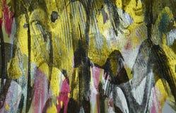 Verf van verf de gouden blauwe zilveren zwarte wasachtige druppels De abstracte achtergrond van de waterverfverf stock foto
