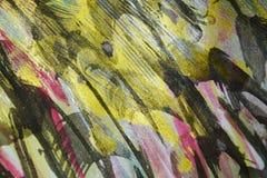 Verf van verf de gouden blauwe zwarte wasachtige druppels De abstracte achtergrond van de waterverfverf royalty-vrije stock afbeelding