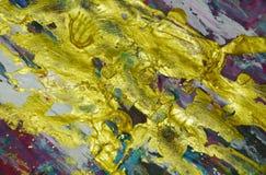 Verf van verf de gouden violette blauwe purpere plonsen De abstracte achtergrond van de waterverfverf Royalty-vrije Stock Fotografie