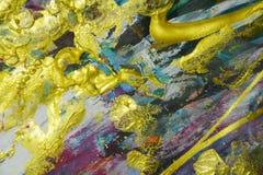 Verf van verf de gouden violette blauwe roze purpere plonsen De abstracte achtergrond van de waterverfverf Stock Foto's