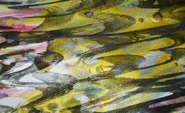Verf van de wasplonsen van de verfwaterverf de gouden donkere De abstracte achtergrond van de waterverfverf Stock Foto's