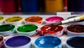 Verf voor de borstel van de de kunstverf van de tekeningskleur stock afbeeldingen