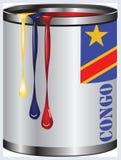 Verf voor de vlag van de Kongo royalty-vrije illustratie