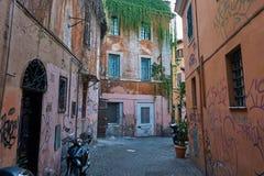 verfallene Häuser mit Graffiti und Anlagen stockfotos