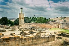 Verfallene Ruinen auf Chellah-Friedhof lizenzfreie stockbilder