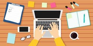 Verfasser Workplace Vector Illustration Autor, Journalist, Laptop lizenzfreie abbildung