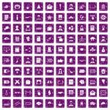 100 Verfasserikonen stellten Schmutz purpurrot ein Stockfotografie