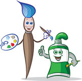 Verfborstel en de mascottes van de verfbuis royalty-vrije illustratie
